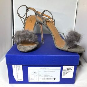 NWT Aquazzura Mink Fur Sandal Stilettos